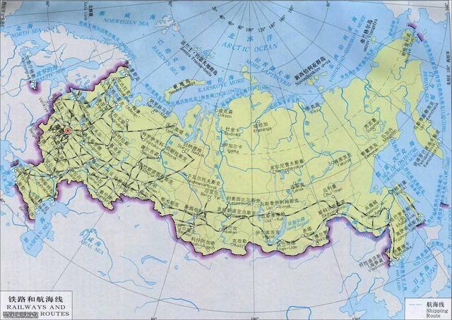 俄罗斯铁路网和航海线图片