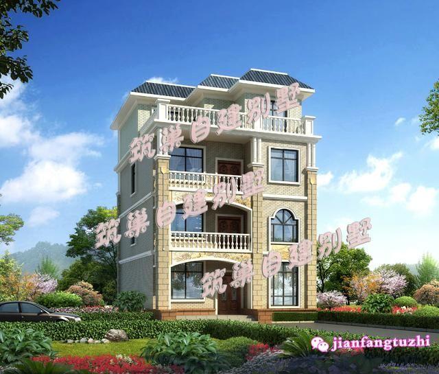 110平米9x12米简约四层农村自建房设计图别墅效果图