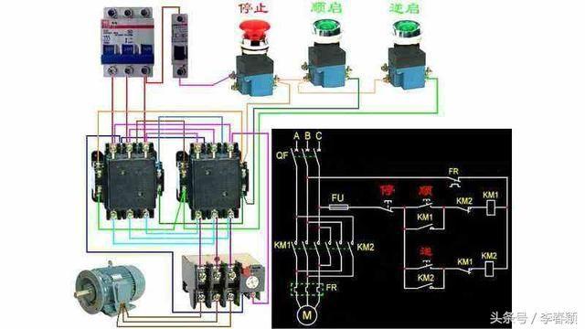 这个是实物接线与电路图 要点:想实现互锁,我们配备的接触器必须辅助