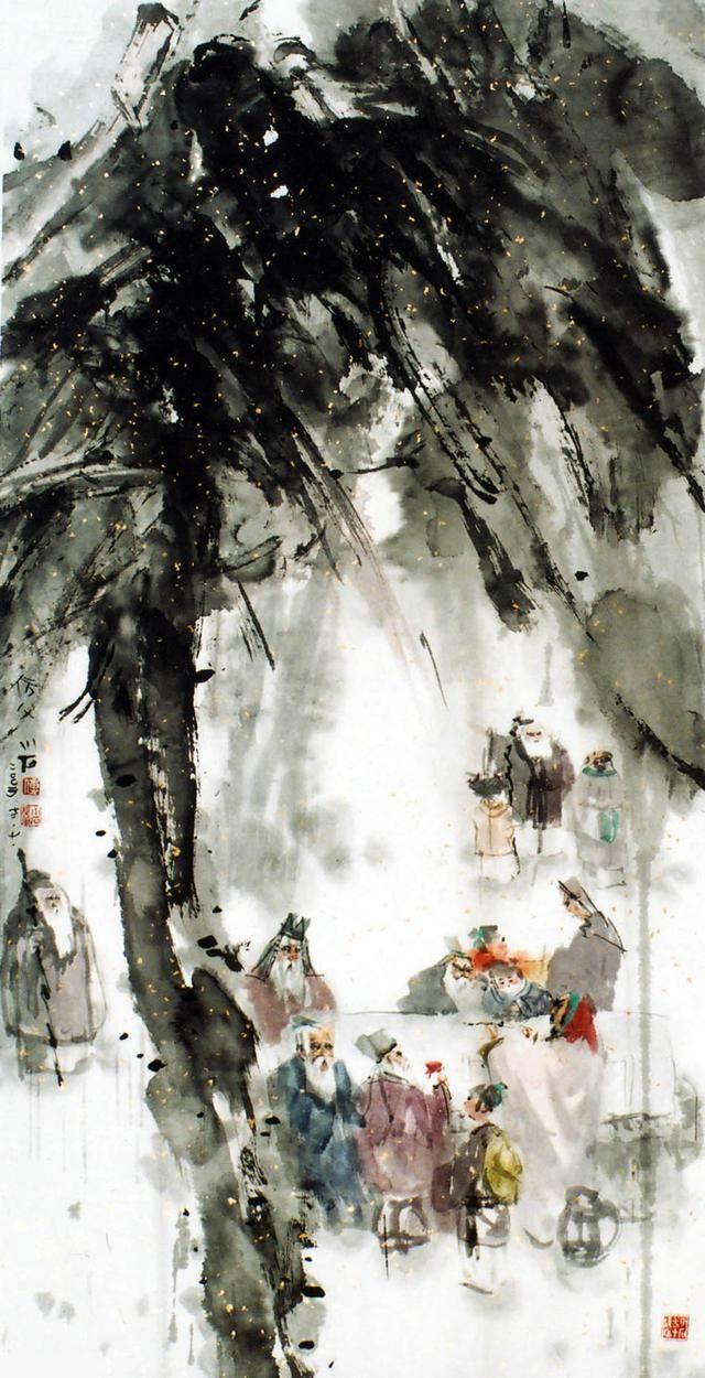 傅小石泼墨人物画傅抱石之子的另类艺术!大家风范!图片