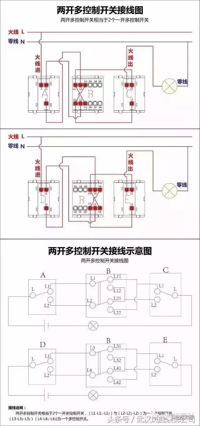 二三开单控开关接线图 四开单控开关接线图 一开五孔单控插座接线图