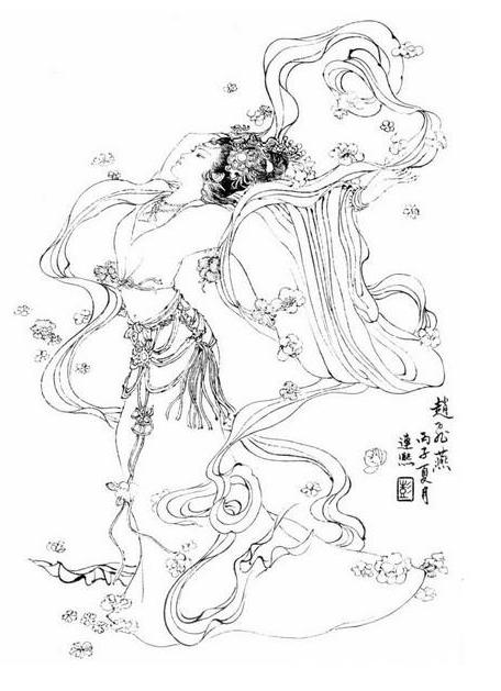 杨玉环图片手绘