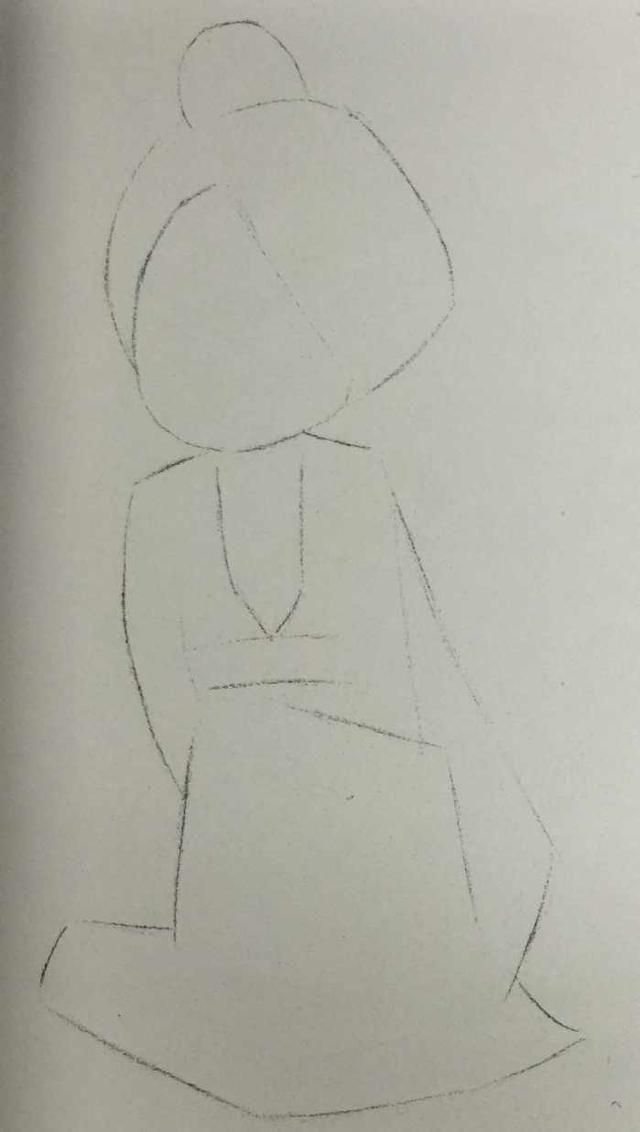 铅笔画单线勾勒出女孩为左手搭右膝的坐姿,所以要突出右膝将裙子支撑