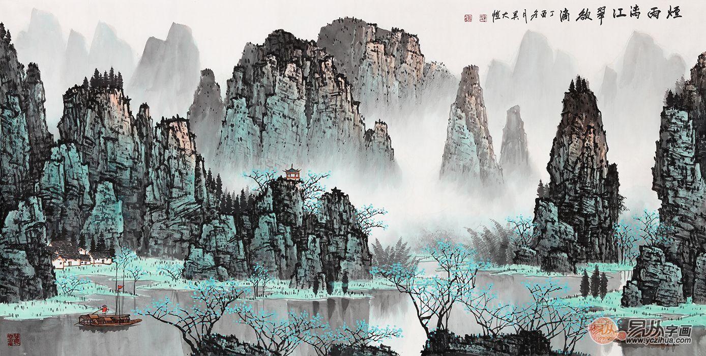 国画青绿山水画,当代名家手绘山水真迹赏析