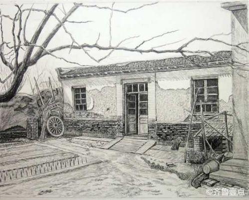 人回忆的铅笔手绘,珍珠泉,老济南火车站,上世纪的济南近郊的田园风光