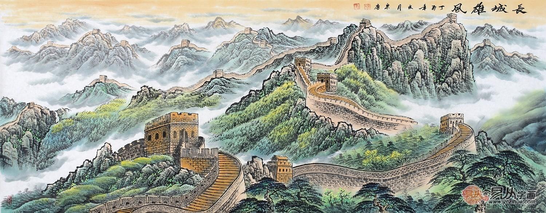 宋唐六尺横幅国画长城山水画作品《长城雄风》图片
