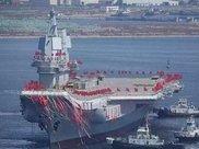 最后的相控阵雷达安装完毕,山东舰已经离开港口,准备出海试航!