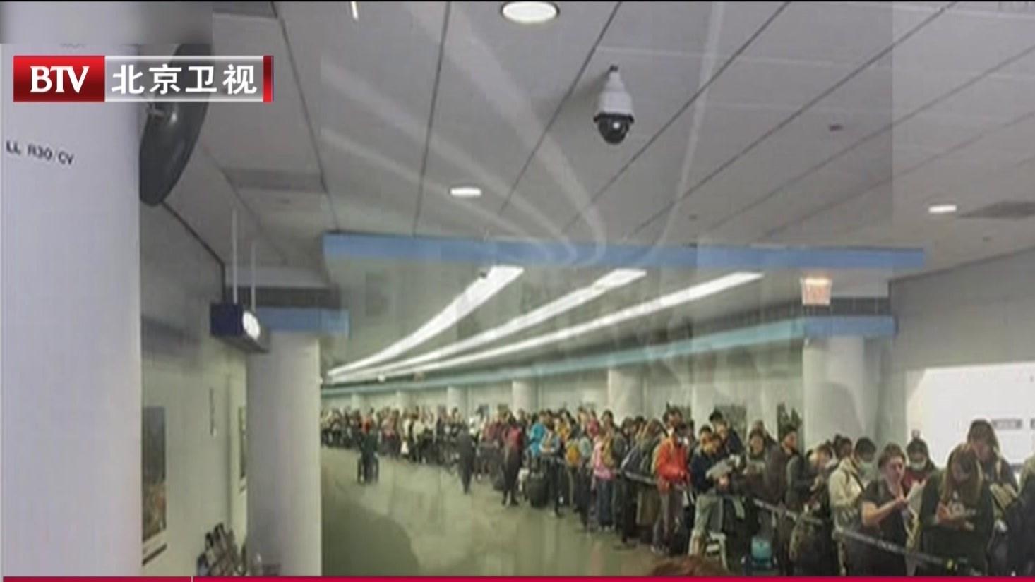 美对欧禁航后  美机场入境处人满为患