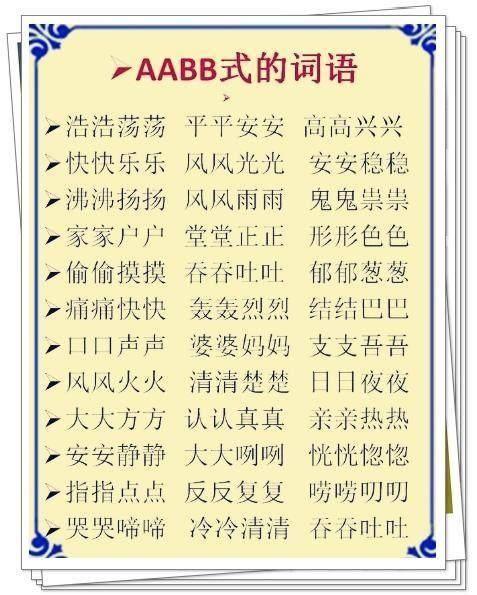 词语分类:ABB+AABB+ABCC式!替孩子打印贴
