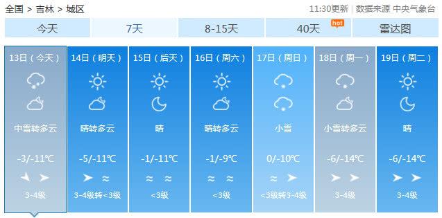 东北吉林省天气昨日突变 各地黄色预警达100多次